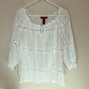 INC | White Lace Off Shoulder Blouse 14